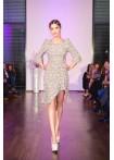 Tweed Volant Dress, brown