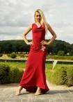 Langes Jerseykleid mit Blütenspitze, rot