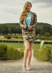 Feather print jacket, turquoise
