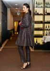 Mantel Tweed-Print, schwarz-rot