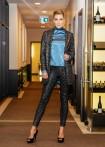 Long blazer, tweed print, black-blue